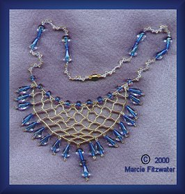 net necklace with drops